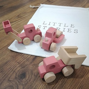 Little Stories-Set of 3 Pink Wooden Toy Construction Trucks_1