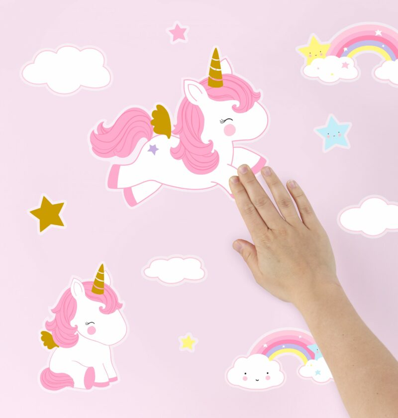 WSUNGO05-HR-2 wall sticker unicorn gold