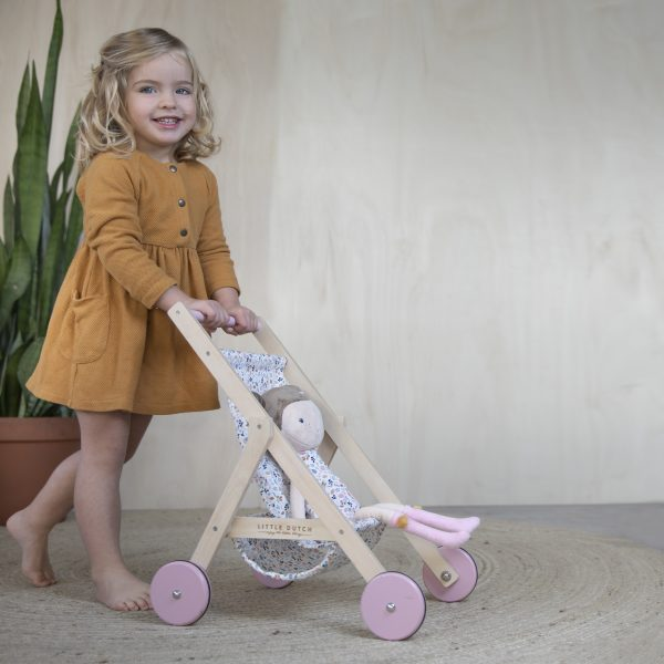 4441 – wooden doll stroller – spring flowers – 1