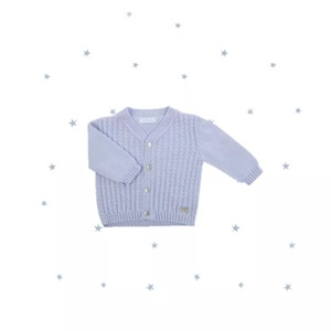 Laranjinha Knitted Blue Cardigan Roped Design_3
