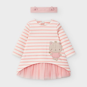 Mayoral Combined Dress With Headband Pink_1