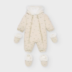 Mayoral Patterned Microfibre Snowsuit Nougat_1