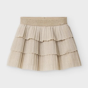 Mayoral Pleated Skirt With Ruffles Metallic Champagne_1
