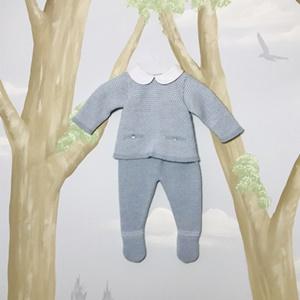 Paz Rodriguez Blue Knitted Suit Set_1