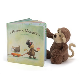 Jellycat- I Know A Monkey Book with Bashful Monkey Medium-1