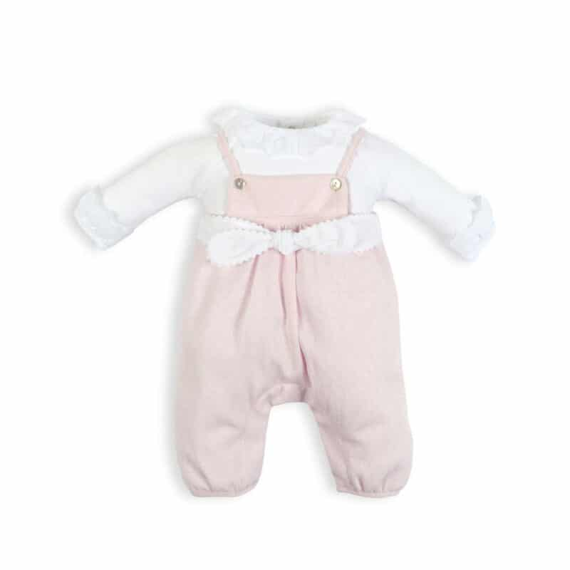 Laranjinha Pink Bow Dungarees with White Blouse