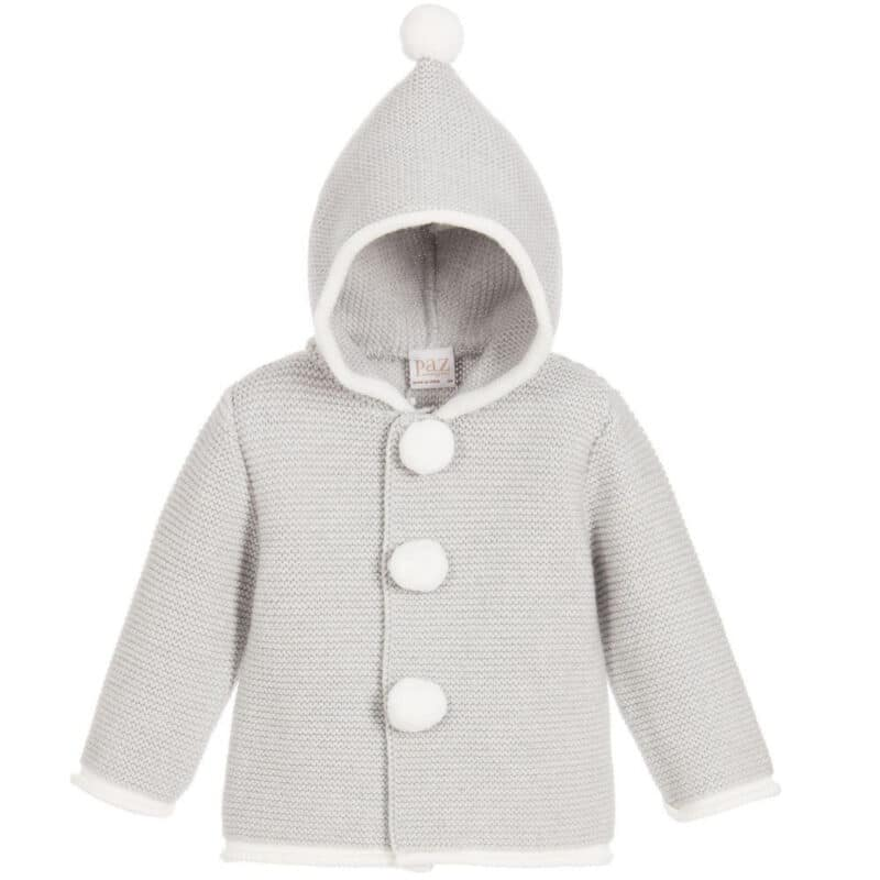 Hooded Grey Knitted Cardigan with White Lining