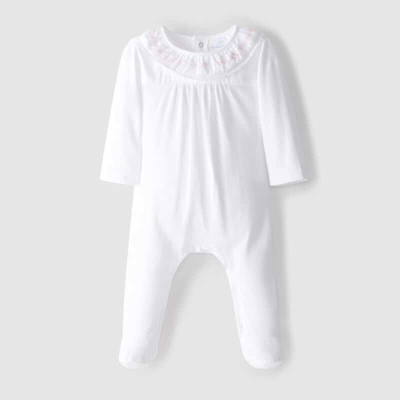 Babygrow embroidery and lace details