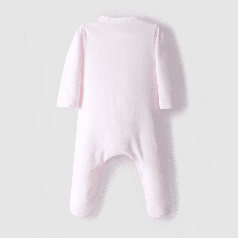 Embroidered babygrow round neckline