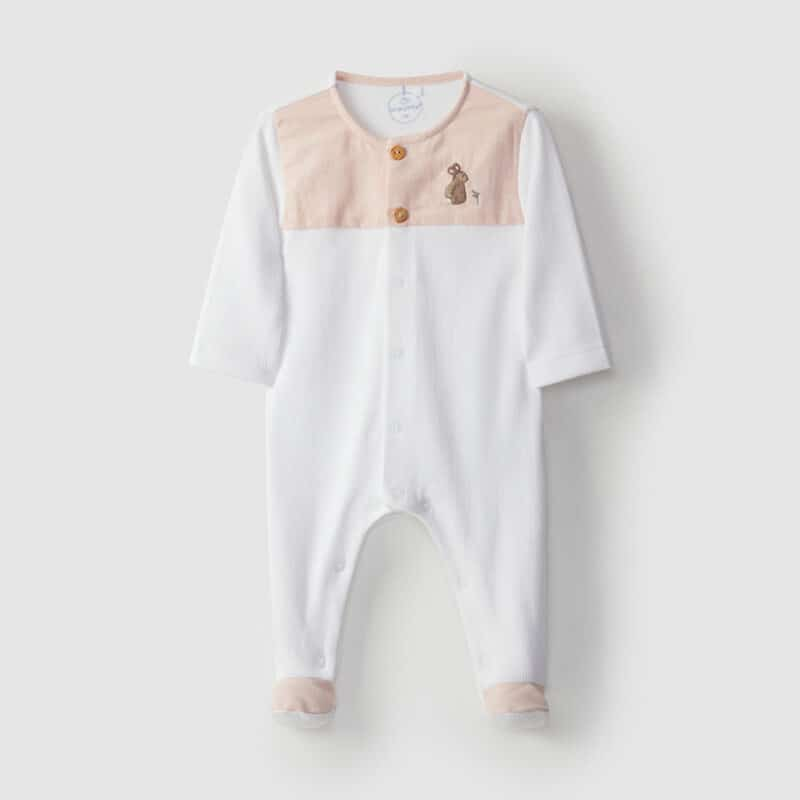 Embroidered Babygrow Rabbit Peach