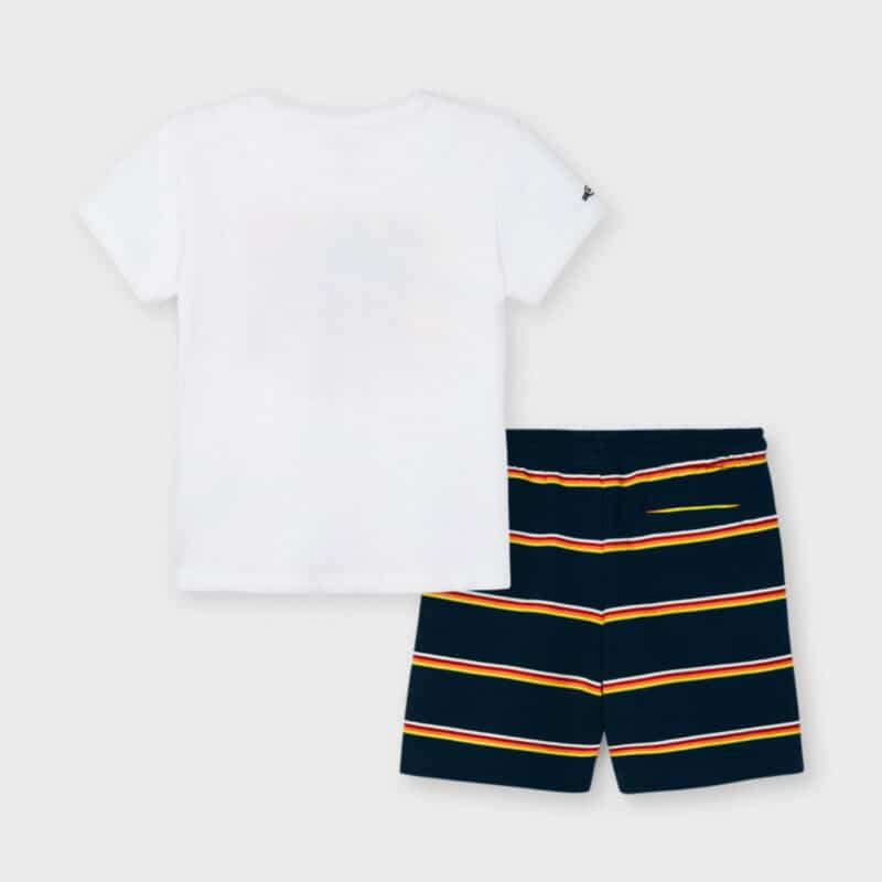 T-shirt And Striped Shorts Set