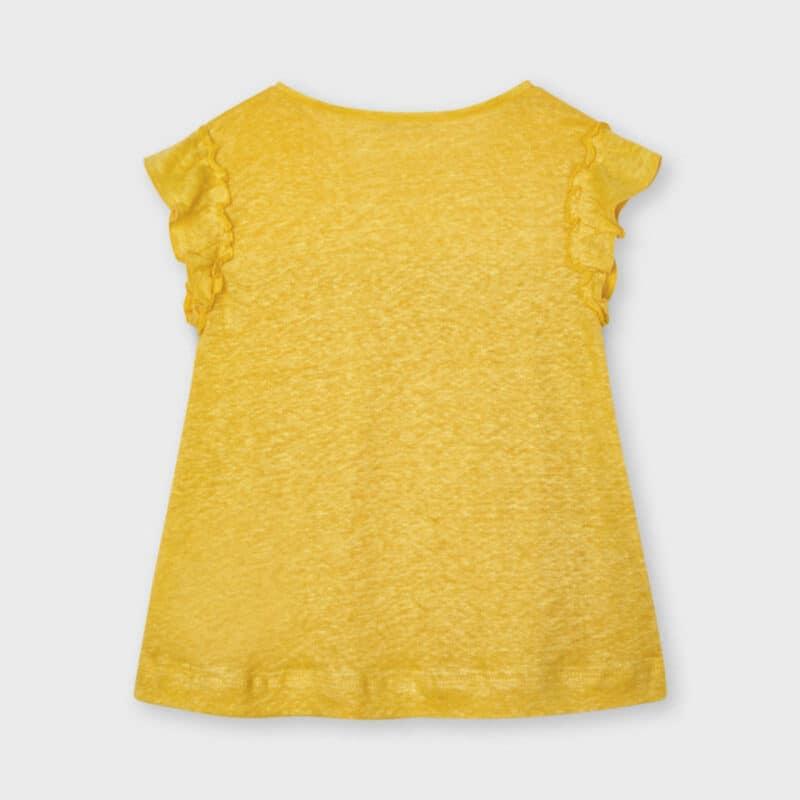 Short sleeved linen t-shirt Yellow