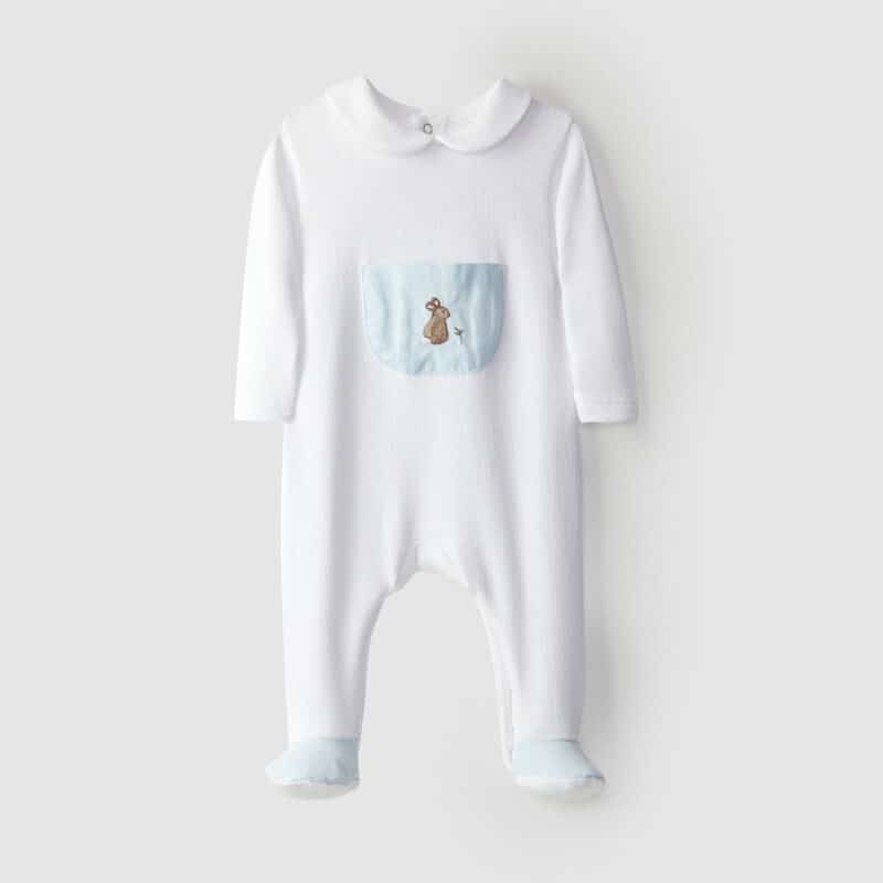 Babygrow Pocket With Embroidery Blue