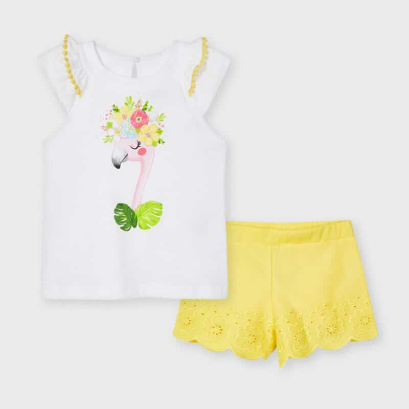 Shorts Set With Embroidered