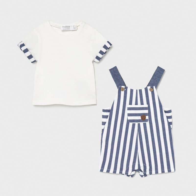 Striped dungaree and t-shirt set