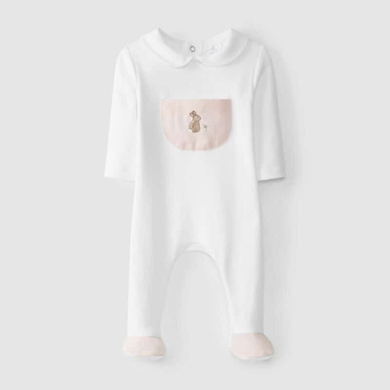 Babygrow Pocket With Embroidery Pink