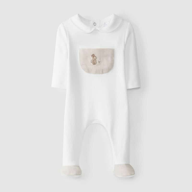 Babygrow Pocket With Embroidery Areia