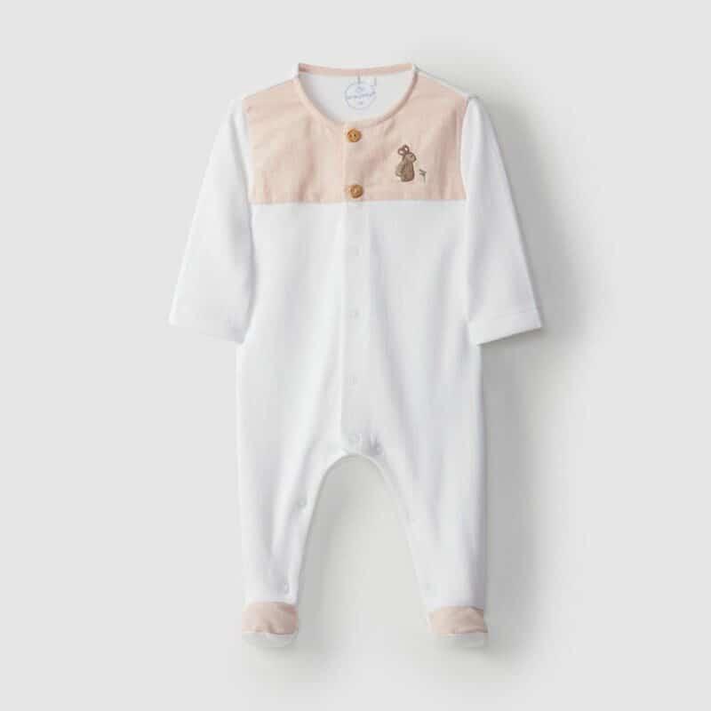 Embroidered Babygrow Rabbit Peach