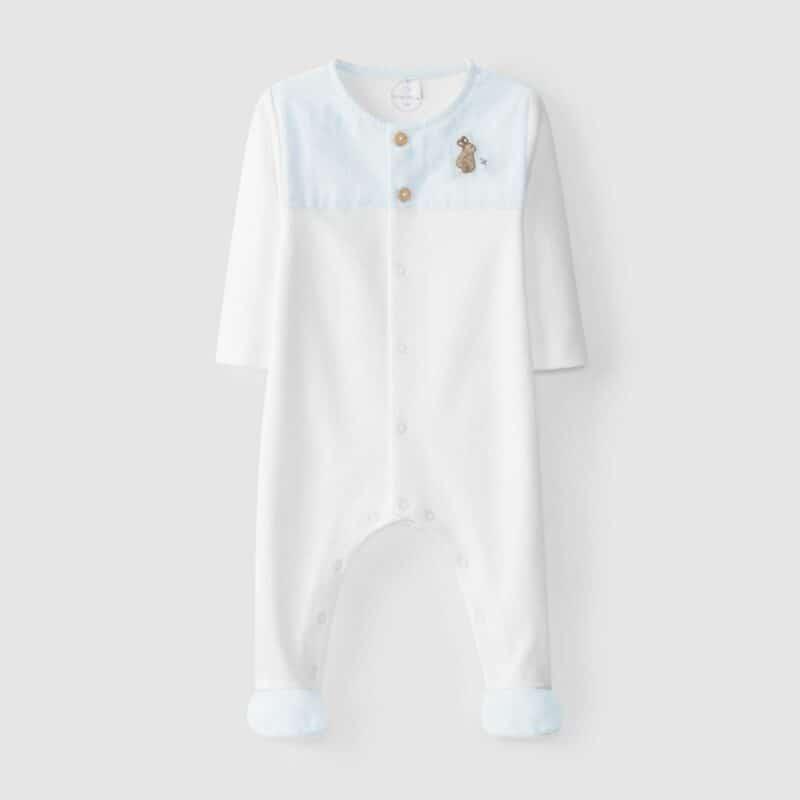 Embroidered Babygrow Rabbit Aqua